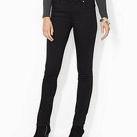 Lauren Jeans Co. Super-Stretch Slimming Heritage Straight Jeans - Blac