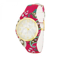 Red Paisley Fashion Watch With Pearl Dial And Rubber Strap
