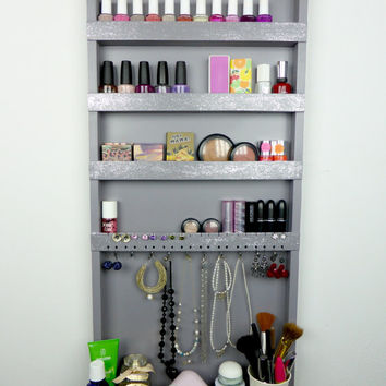Grey-silver-glitter makeup & jewelry organizer - display - nail polish rack - beauty station -bedroom storage - rangement maquillage