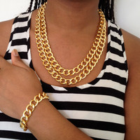 Chunky Double Chain Link Necklace/Bracelet Set in Gold or Silver