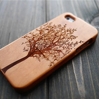 Cherry Wood Tree iPhone 5 5s Protector Case , Custom Wood iPhone 5 5s Case , Real Wood iPhone 5 5s Case  Holder , Wood Phone Case Gift