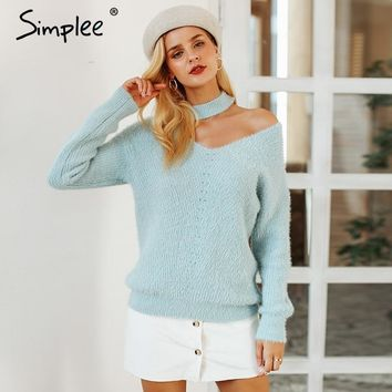Simplee Halter cold shoulder knitted sweater women Autumn fashion apricot pullover jumpers Winter sexy sweater tops 2018