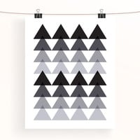 monochrome ombre triangles geometric print - abstract home decor - black and white wall art - nursery print - triangle poster - triangle art