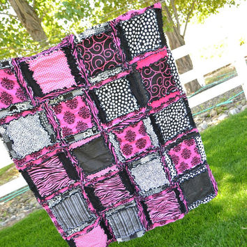 RAG QUILT, Toddler Bedding, Baby Blanket, Zebra, Pink,  Ready to Ship 1 Business Day