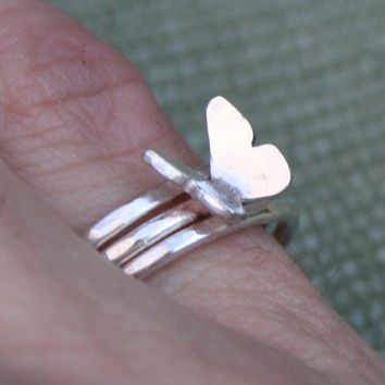 Fly Free Butterfly Ring  Sterling Silver  Made to Order  by thenay