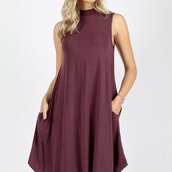Premium Mock Neck Sleeveless Dress Pockets