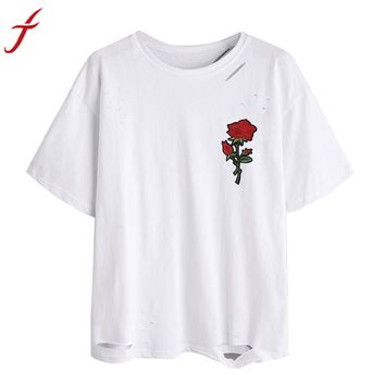 Women's Solid White T Shirt Appliques Rose Print