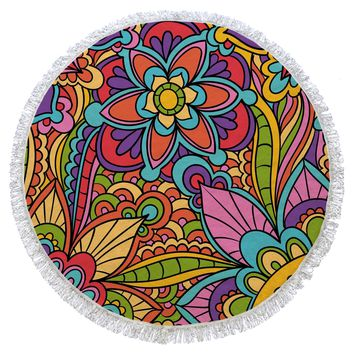 Multicolor Turkish Cotton Round Beach Towel