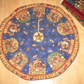 Christmas Tree Skirt Quilt  -  Joyful Angels  Reversible  -  96
