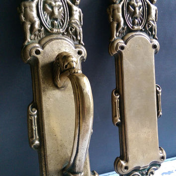 PF Corbin Victorian Push Pull Plates/ Antique Brass Push Pull Plates/ Lion and Cherub Antique Brass Push Pull Plates