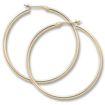 14K yellow gold large tube hoop earrings