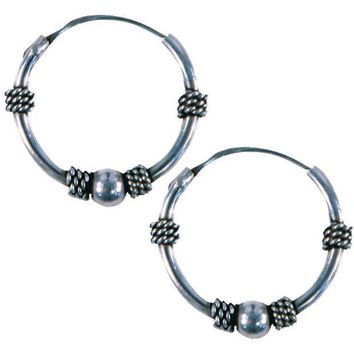 ESBGQ9 14mm Bali Hoop Twist & Ball Earrings