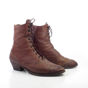 Banana Republic Boots Vintage 1980s Distressed Brown Lace up Roper Women's size 8 1/2