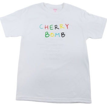 CHERRY BOMB TEXT TEE WHITE