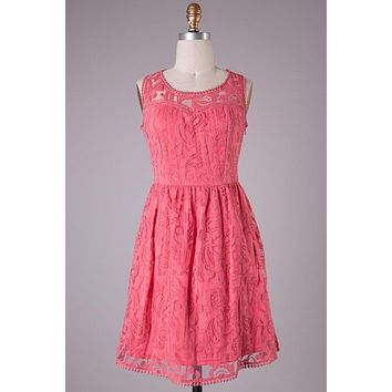 Sweetheart Lace Dress - Coral