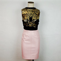 4/6 Vintage Light Pink Leather Pencil Skirt High Waisted Zipper Back Tight Fitted Bodycon Skirt Knee Length Vintage Fashion Vintage Skirt