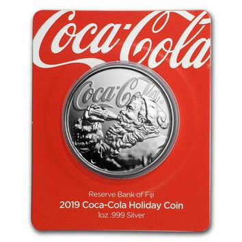 2019 Fiji 1 oz Proof Silver Coca-Cola Santa Holiday Coin