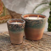 Weathered Terracotta Candle Pot