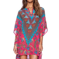 Hot Pink Totem Paisley Floral Print Sleeve Chiffon Dress
