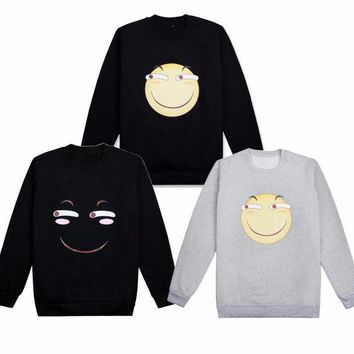 DCCKH6B Cute Emoji Smile Face Hoodie Cosplay Costume Long Sleeve Pullover Thicken Fleeces T-shirt Daily Casual Bottoming shirt