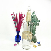 Upcycled Wine Bottle Incense Burner/No Mess Recycled Repurposed Clear Glass Wine Bottle Incense Holder/Peace Sign Hippie Incense Burner
