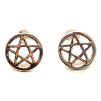Fashionology Earrings Big Pentagram in Silver