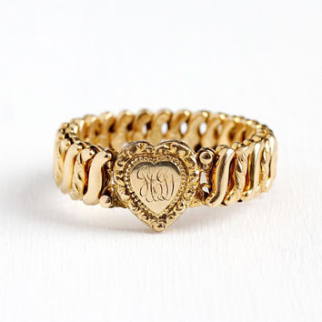 Vintage Expansion Bracelet - 12k Rosy Yellow Gold Filled Monogrammed GCD Heart - WWII 1940's Mid Century Stretch Sweetheart Repousse Jewelry