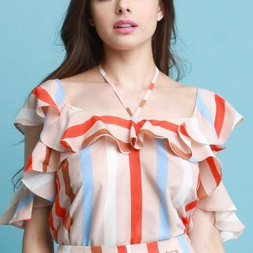 Striped Ruffle Flounce Top