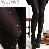 Sparkling Jeweled Diamond Crystal Star Comic Cosmo Space Calaxy Tights/Pantyhose
