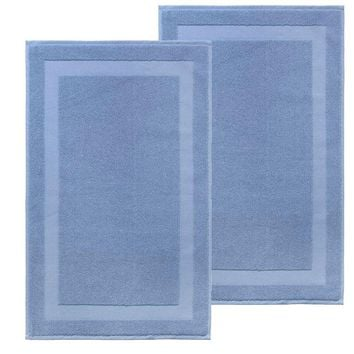 Set of 2 Turkish 100% Cotton Bath Rug Mats Aqua - Blue