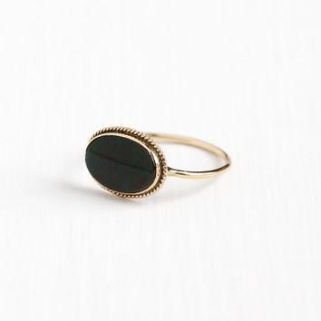 Antique Edwardian 14k Rosy Yellow Gold Bloodstone Stick Pin Conversion Ring - Early 19