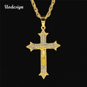 Uodesign Golden Bling Jesus Christ Crystal Chains Hip Hop Christmas Jewelry Gifts Rhinestone Crossing Pendants Necklaces for men