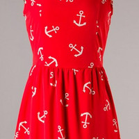 Anchors Away Dress - Red