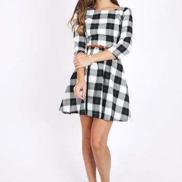 Dover Plaid Quarter Sleeve Dress In Black | Ruche