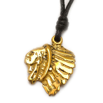 Indian Head Native American Handmade Brass Necklace Pendant Jewelry