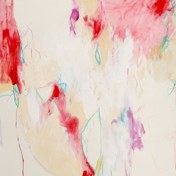 Red Small Abstract Expressionist Painting Paper Intuitive Art 24x18