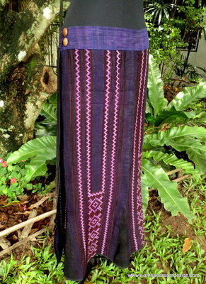 Vintage Hmong Embroidered Cotton & Hemp Wrap Skirt