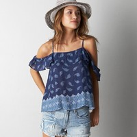 AEO RUFFLED DROP SHOULDER SHIRT