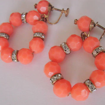 Vintage Coral Bead Rhinestone Dangle Hoop Earrings * Chandelier Earrings * Drop Earrings * Screw Back * Jewelry * Jewellery