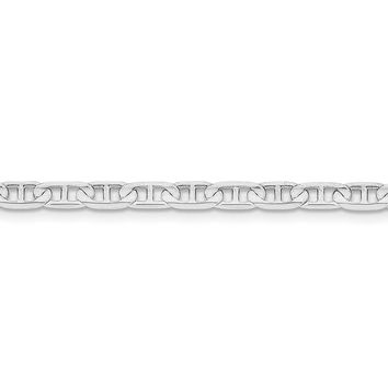 4.4mm 14k White Gold Solid Concave Anchor Chain Necklace