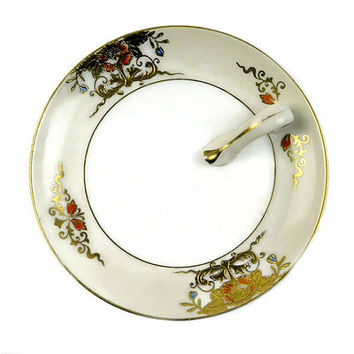 Art Deco Dish with Handle Vintage Noritake Lemon Wedge Plate Candy Relish Dish Gold Floral Design Tea Time