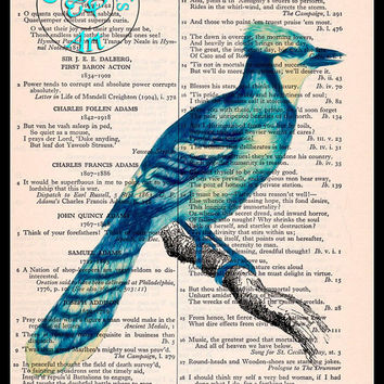 Blue Jay Oil Painting Style Art Beautifully Upcycled Vintage Dictionary Page Book Art Print, Bird Print