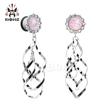 stainless steel pink opal double dangle ear plug
