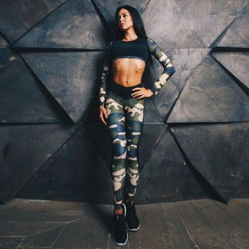 Tank Tops Tracksuit Camouflage Long Sleeve Sets