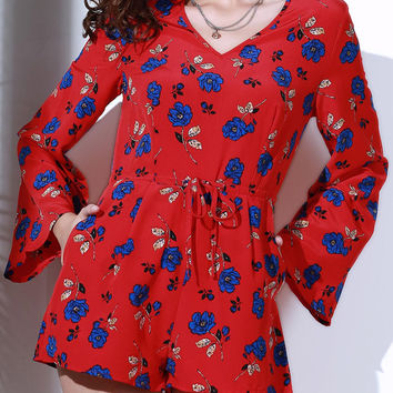Red Floral Long Sleeve Drawstring Waist Romper
