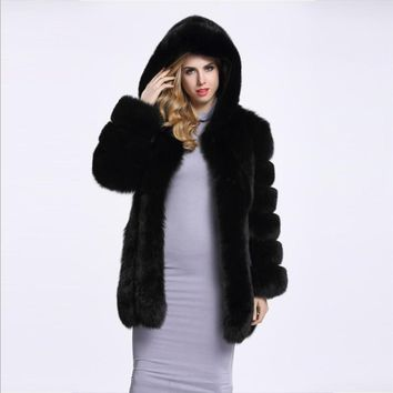 2017 Winter new women hooded fur coat silver fox imitation fur vest  plus size ladies fox fur coat free shipping