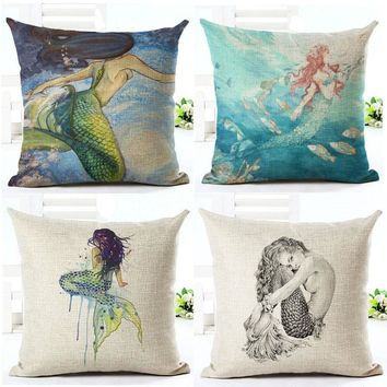 Sexy Mermaid pattern Marine Style Cushion Cover Customized Throw Pillow Home