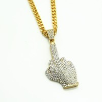 "Rhinestone Middle Finger Pendant Necklace with 30"" Twist Chain"