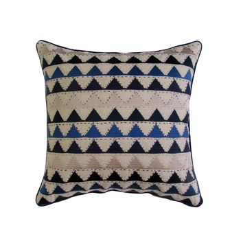 Blue & Tan Chevron Embroidered Square Accent Pillow Cover