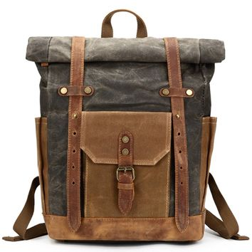 Waterproof Waxed Canvas Leather  Weekend Travel laptop Backpack